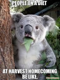 Meme Diet - people on a diet at harvest homecoming be like meme surprised