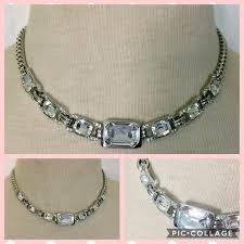 make silver necklace images Givenchy silver necklace rhinestone poshmark jpg