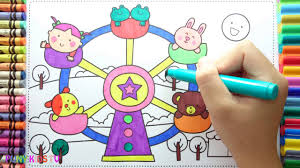how to drawing bear rabbit and christmas tree colorful for