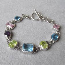 blue topaz silver bracelet images Sterling silver multi gemstone vintage toggle bracelet blue jpg