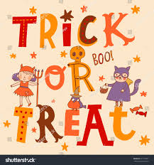halloween background with silhouettes of children trick or treating in halloween costume bright trick treat card vector stylish stock vector 217119361
