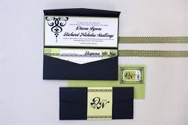 Pocketfold Invitations Diana Nick Green And Black Crystal Wedding Invitations