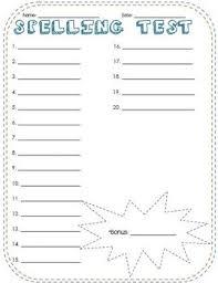 free printable spelling test paper fun spelling test template