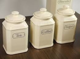 pottery canisters kitchen pc traditional ivory ceramic tea coffee sugar jar canister