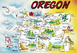 large tourist illustrated map of oregon state vidiani maps