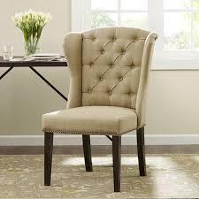 artistic abbyson kyrra tufted linen wingback dining chair cream