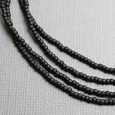 black seed bead necklace images Black seed bead necklace opaque matte black beaded jpg
