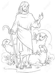 jesus is a good shepherd colouring page royalty free cliparts