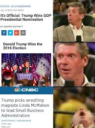 Meme Wrestling - breaking trump picks wrestling magnate linda mcmahon to lead small