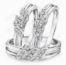 wedding ring set his and hers diamond trio set his hers matching engagement ring wedding band