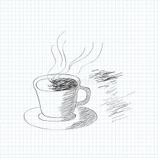 black and white sketch of coffee cup stock illustration image
