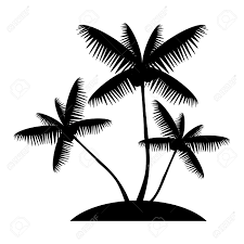 coconut palm tree silhouette island web icon vector