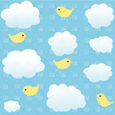 cloudy background with simple cartoon vector clipart image