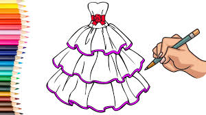 drawing coloring barbie dress kids coloring pages