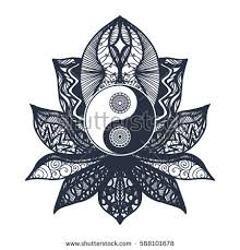vintage yin yang mandala lotus tao stock vector 588101678