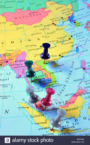Asia Map by Map Pins In South East Asia Map Stock Photo Royalty Free Image
