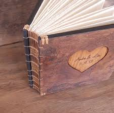 rustic photo album custom rustic guest book with carved tree bark covers by three