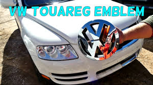 first volkswagen logo vw touareg front emblem removal replacement grill emblem youtube