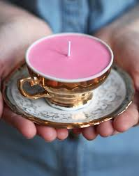 tea cup candles decorating with teacups pink chai living