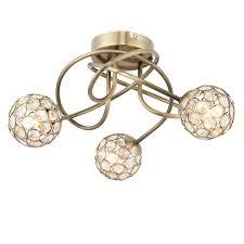 lopez antique brass effect 3 lamp ceiling light departments