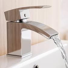 waterfall basin sink tap modern designer chrome bathroom cloakroom
