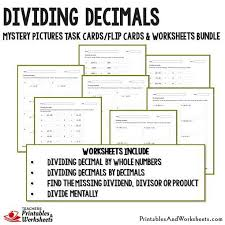 dividing decimals task cards and worksheets bundle printables