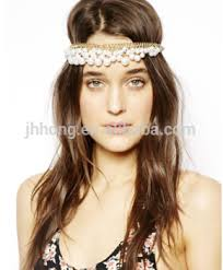 chain headpiece boho women pearl gold wedding headdress headband band crown