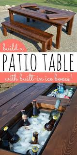 Free Wood Patio Table Plans by Remodelaholic Build A Patio Table With Built In Ice Boxes