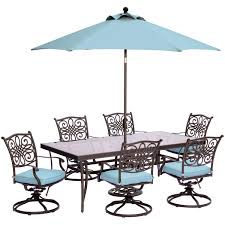 Patio Dining Set 7 Piece - traditions 7 piece dining set in blue with extra large glass top