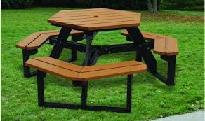 recycled plastic picnic tables hex table tables benches kirbybuilt products