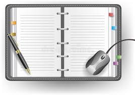 agenda de bureau agenda de bureau avec la ligne le stylo bille et la souris