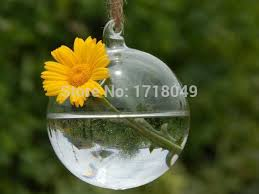 4 pieces dia 10cm blown glass ornaments hanging water planter