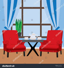 Next Armchairs Two Red Armchairs Next Small Table Stock Vector 599338022