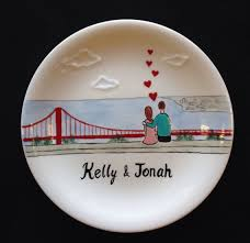 golden hand ring holder images Engagement wedding gift personalized hand painted ceramic ring jpg