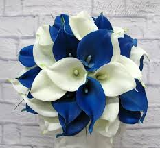 picasso calla royal blue picasso calla wedding bouquet in bloom