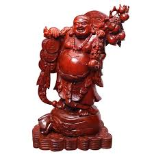 pear wood carved buddha lucky town house from evil spirits opening