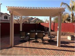 backyard landscaping with wooden pergola and fences nice image on