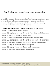 Sample Painter Resume by Top 8 E Learning Coordinator Resume Samples