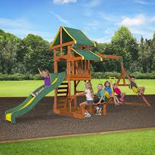 How To Build A Wooden Playset Amazon Com Backyard Discovery Tucson All Cedar Wood Playset Swing