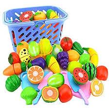 cuisine bebe jouet jeu d imitation foxom 23pcs jeu de cuisine fruits et légumes panier