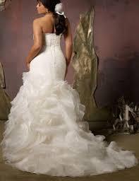 plus size mermaid style ruched ruffled trumpet wedding dress