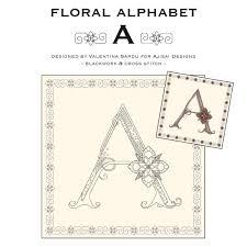 blackwork cross stitch designs floral alphabet a ajisai press