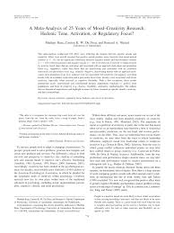 a meta analysis of 25 years of mood creativity research hedonic