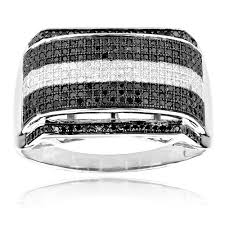 black diamond band white and black diamonds ring 0 84ct 10k gold mens diamond band