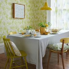 Retro Dining Room Dining Room Charming Dining Room With Yellow Wallpaper Decor