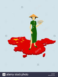 Chineses Flag A Stereotypical Chinese Woman Standing On The Chinese Flag In The