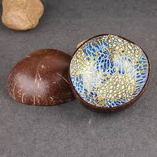 coconut shell nuts storage bowl decorated with gilt