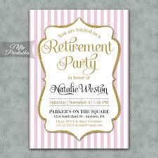 pink gold stripe retirement invitations nifty printables
