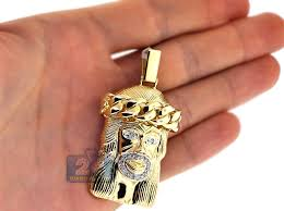 necklace gold jesus images Mens diamond jesus christ pendant 14k yellow gold 0 42ct 2 25 quot jpg