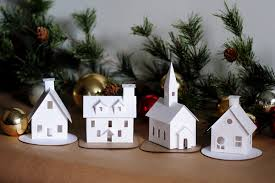 Mini Christmas Tree With Decorating Kit by Diy Putz Village Ornament Kit Of 4 Christmas Glitter House